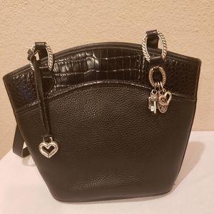 Vintage BRIGHTON Black Pebbled Croc Leather